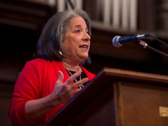 Knoxville Mayor Madeline Rogero speaks during the second annual Justice Knox Nehemiah Action Assembly held at Central United Methodist Church in Knoxville on Monday, April 30, 2018.