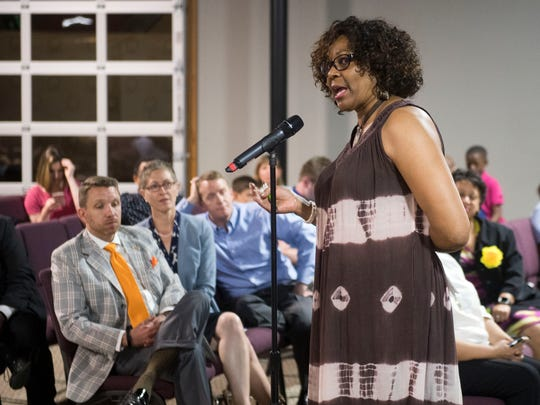 Knox County Board of Education member Gloria Deathridge at a community meeting in May.