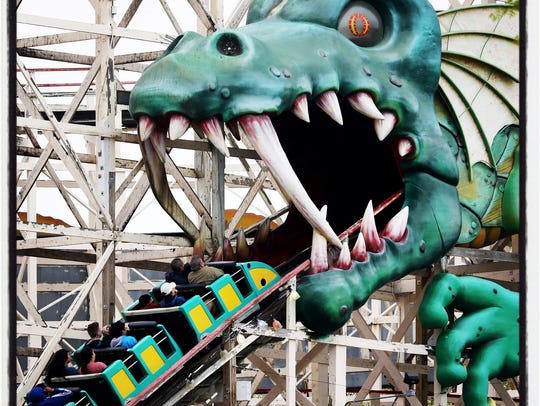Riders enter the mouth of the dragon on the Dragon