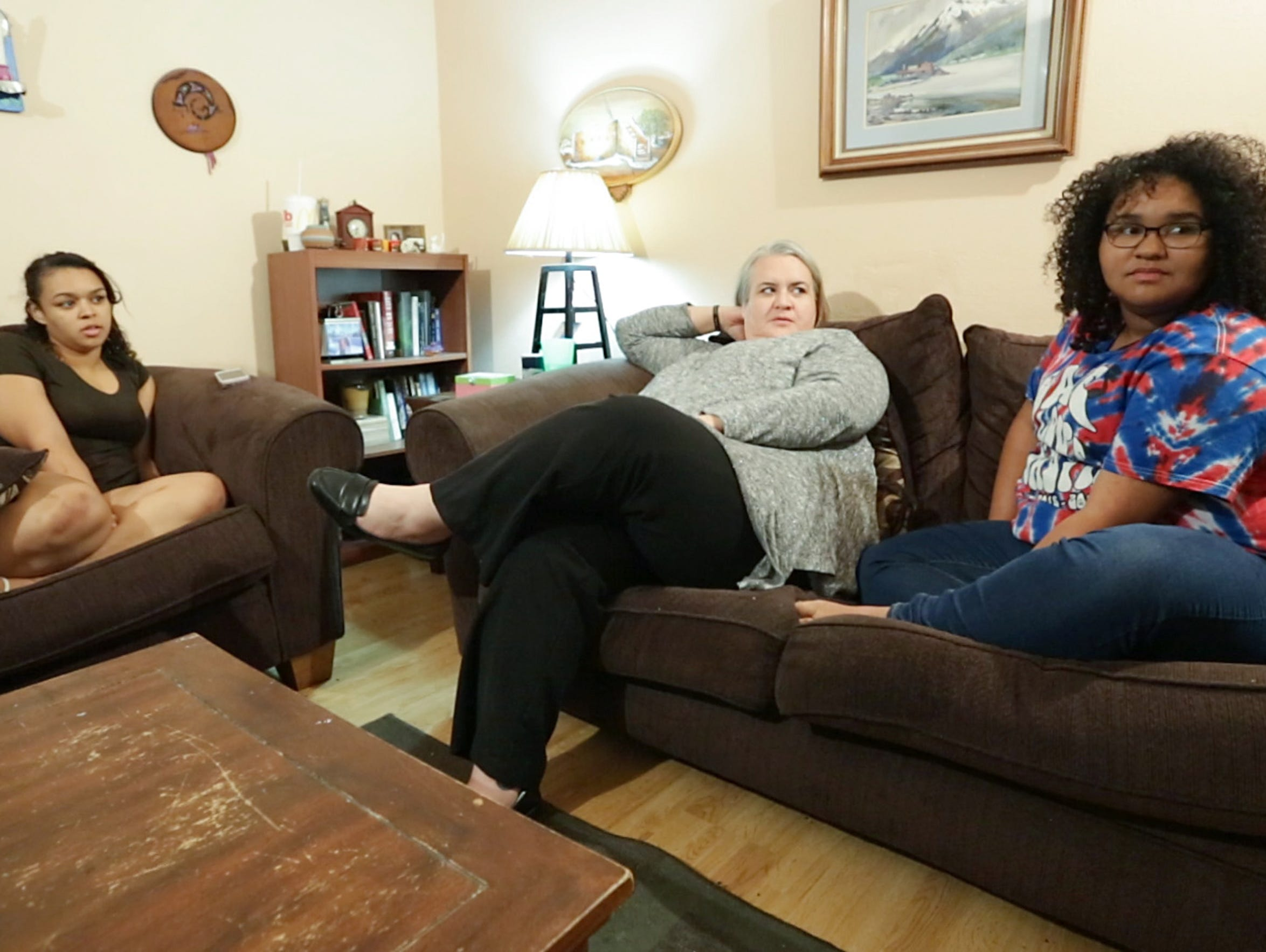Sarah Stevens and her daughters Raven Pope, 19, left,