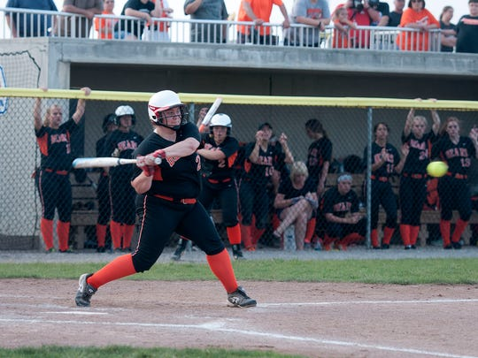 Gibsonburg's Aubrey Fleming swings at a pitch Thursday in a Division IV regional semifinal matchup with Carey at Marathon Diamonds in Findlay.
