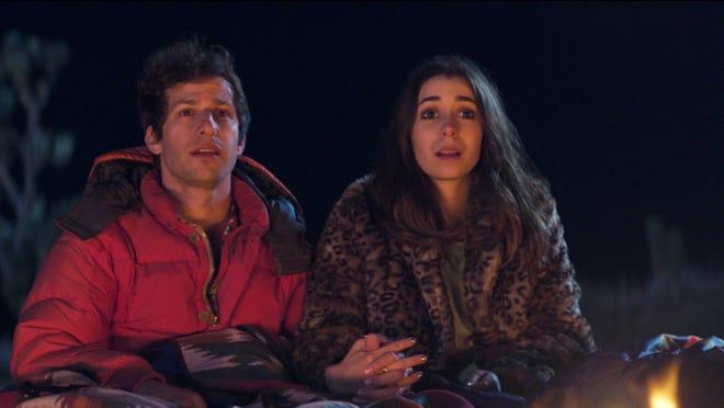 "Nyles (Andy Samberg) and Sarah (Cristin Milioti) in ""Palm Springs."""