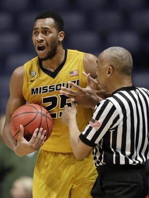 Missouri forward Russell Woods (25) reacts to an official's call that went against him during the second half of an NCAA college basketball game against Mississippi at the Southeastern Conference tournament Thursday, March 9, 2017, in Nashville, Tenn. (AP Photo/Wade Payne)
