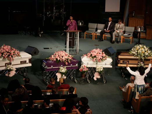 The funeral for Koi Green, Kaliegh Green, Chadney Allen