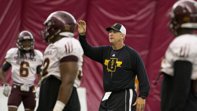 ASU's defensive coordinator Keith Patterson instructs his defense during a practice at ASU's Verde Dickey Dome on August 11, 2016 in Tempe, Ariz.
