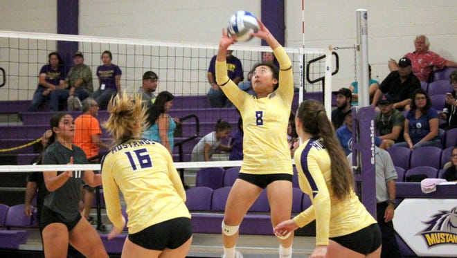 Bailey Gin flies through the air to tally this assist during action Tuesday against the Lady Greyhounds.