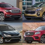 Clockwise from upper left: 2017 GMC Acadia Denali, 2017 Kia Sportage, 2017 Mercedes-Benz GLS and the 2017 Chrysler Pacifica
