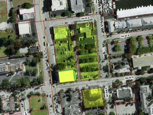 An aerial view of the property up for rezoning Wednesday before the Naples City Council. In a 4-3 vote, council members approved a downtown zoning for the property that will allow buildings to cover more of the land.