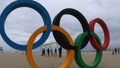 Olympic rings made out of recycled material inaugurated