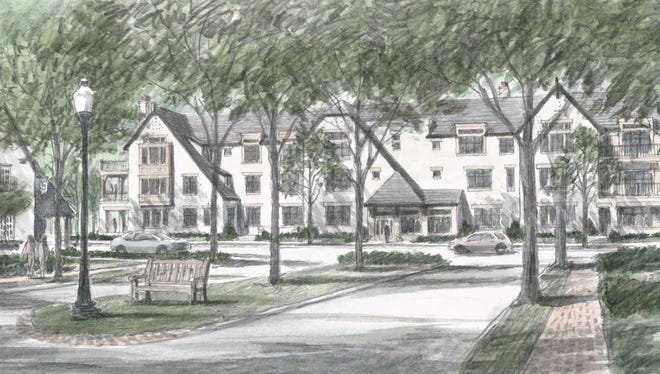 Here's a rendering of Hampstead Park, a luxury condominium project under construction in Mariemont.