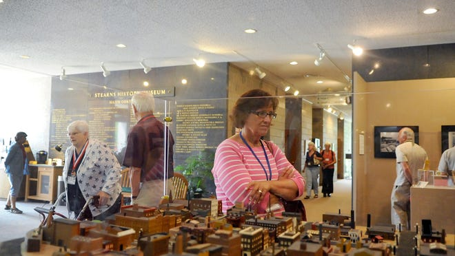 Elizabeth Kellner from Rice looks at a model of St. Cloud. Norwegian-Americans gathered for Tre Lag Stevne, which will be four days long and started at Stearns History Museum on Wednesday. Presentations at the museum offered insight of Central Minnesota history.