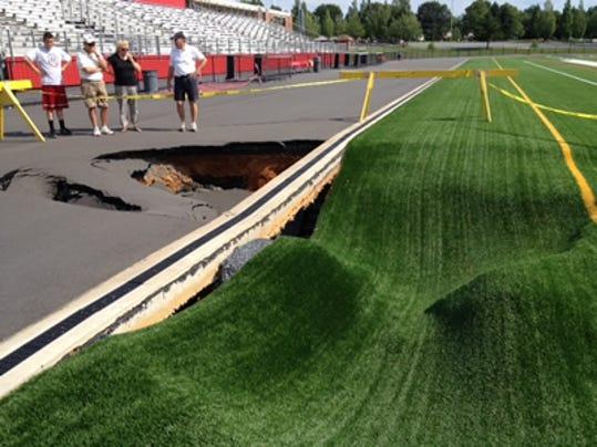 The sink hole at Warwick's Grosh Stadium (Warwick School District picture)