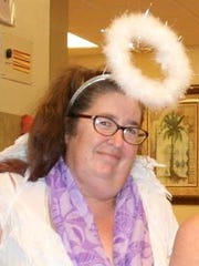 Susan Scherer in her angel outfit during a visit to