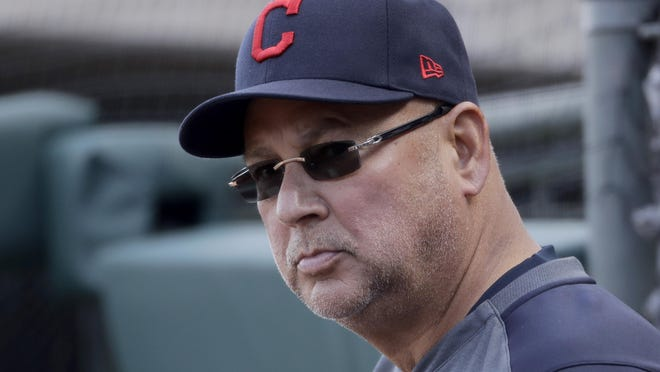 Indians manager Terry Francona watches a sprint training game in February in  Surprise, Ariz.