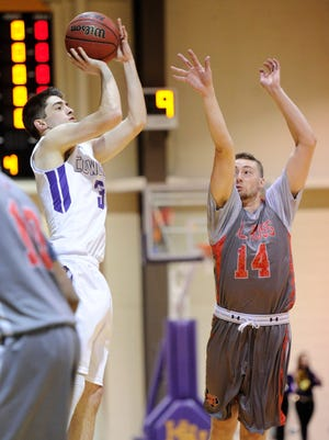 Hardin-Simmons guard Caleb Spoon (3) puts up a 3-point shot over Sul Ross State's Brock Anders (14) during the Cowboys' 86-69 loss on Thursday, Feb. 8, 2018 at the Mabee Complex.