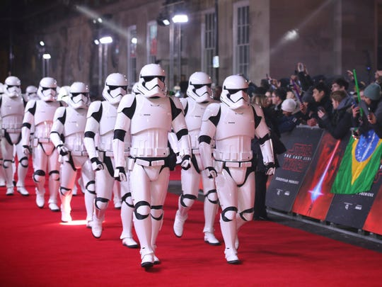 Stormtroopers walk the red carpet ahead of the premiere