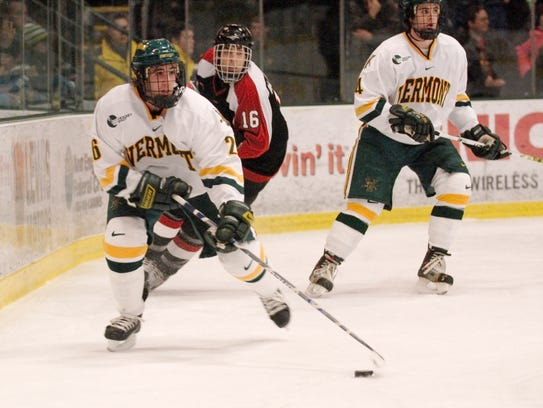 Former UVM men's hockey player Ryan Gunderson is competing on the U.S. Olympic men's hockey team.