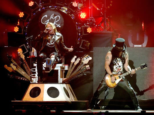 Axl Rose and Slash of Guns N' Roses perform onstage during day 2 of the 2016 Coachella Valley Music & Arts Festival Weekend 1 at the Empire Polo Club on April 16, 2016 in Indio, California.