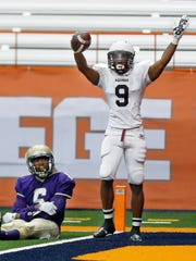 Aquinas' Earnest Edwards scored 28 touchdowns on offense, defense and special teams. He was named First Team All-USA New York.