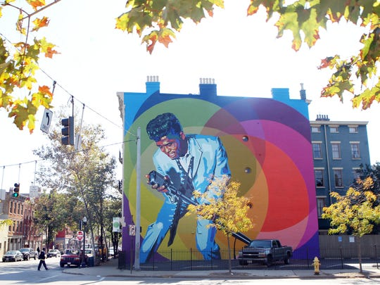 """Mural of James Brown on the north face of a building in the 1400 block of Main Street.  Brown recorded his first record, """"Please, Please, Please"""" in February, 1956, at King Studios in Cincinnati."""