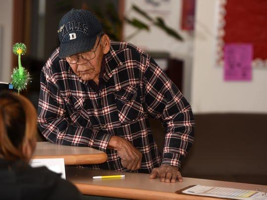 Veteran Denneson Nez of Montezuma Creek, Utah, visits the Northern Navajo Veterans Center on Tuesday in Shiprock.