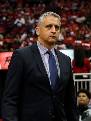 Assistant coach Igor Kokoskov of the Utah Jazz walks to the court before the third quarter during Game Two of the Western Conference Semifinals of the 2018 NBA Playoffs against the Houston Rockets at Toyota Center on May 2, 2018 in Houston, Texas.