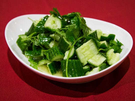 This is the garlic cucumber from Chengdu Delight Chinese