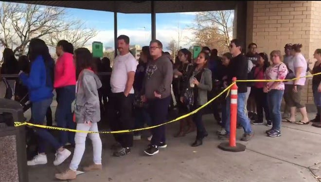 Shoppers lined up on Thanksgiving Day for deals at the Meadowood Mall on Thursday, Nov. 23, 2017.