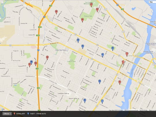 This map shows pockets of theft and burglaries in Green Bay within the last 30 days.