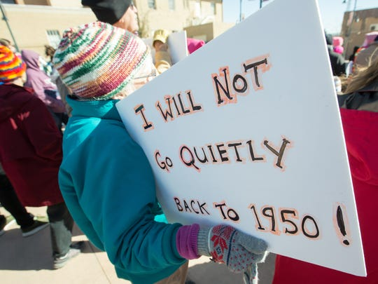 Kathleen Deasy, of Las Cruces, attends the Las Cruces Women's March on Sunday, January 21, 2018 at the Plaza de Las Cruces.