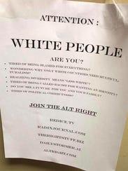 An alt-right recruitment flier was found on campus