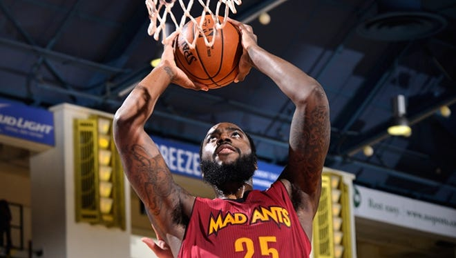 Rakeem Christmas eyes a dunk for the Mad Ants. Christmas has played 24 games in Fort Wayne.