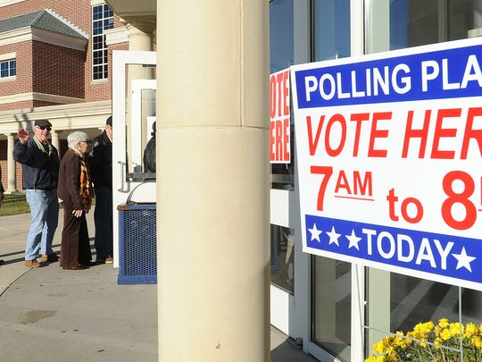 Voters at Cape Henlopen High School polling place near Lewes.