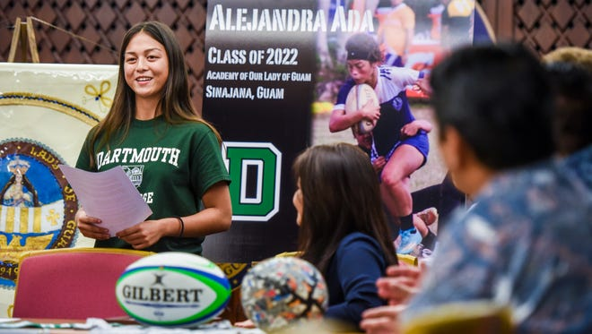 Rugby athlete, Alejandra Rose Unpingco Ada, shares her thoughts and gratitude after signing a letter of intent in the Governor's Complex at Adelup on Thursday, May 3, 2018. With the signing of the letter, the Academy Our Lady of Guam student will be accepting a scholarship to attend Dartmouth College to play NCAA Division I rugby for the Ivy League school.