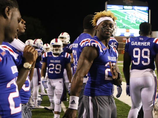 Jaqwis Dancy goofs off with his teammates on the sidelines during Louisiana Tech's game against Rice University at Joe Aillet Stadium on Saturday, October 29, 2016. Dancy was recently diagnosed with Hodgkins Lymphoma. He is receiving treatment in Memphis.