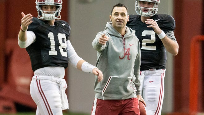 Steve Sarkisian has left his job as offensive coordinator at Alabama for the same position with the Atlanta Falcons as he replaces Kyle Shanahan, who left to become head coach of the San Francisco 49ers