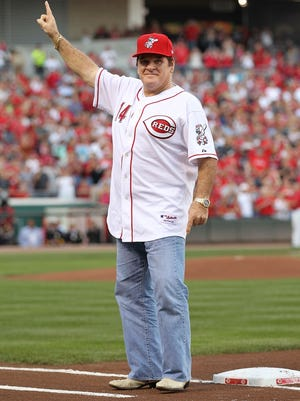 Pete Rose takes part in the ceremony celebrating the 25th anniversary of his breaking the career hit record of 4,192 on September 11, 2010 at Great American Ball Park.