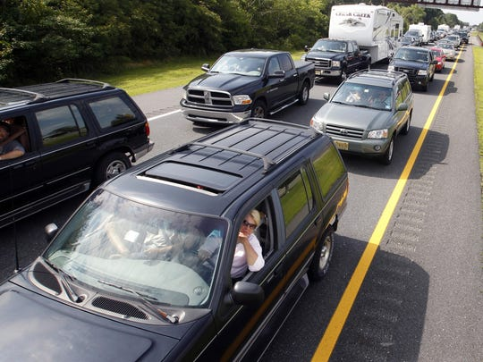 Vehicles in a traffic jam in New Jersey in 2011.
