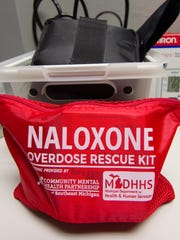 Narcan and related treatments, packaged for treating patients overdosing in opioids and shown Friday, Jan. 26, 2018, are now available to school nurses in Brighton Area Schools.