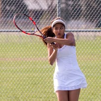 St. Philip's Annie Newton at the All-City Tennis tournament at Pennfield High School on Saturday