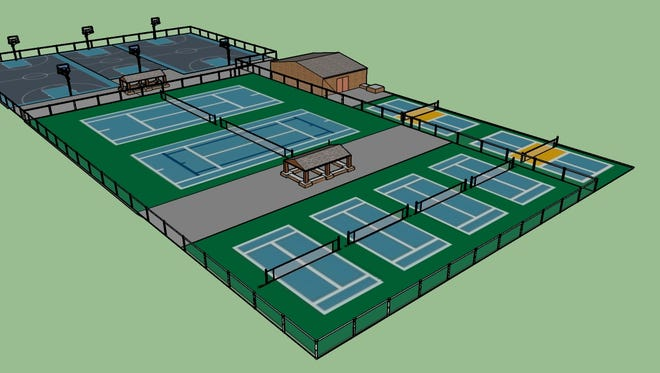 A digital rendering of what the tennis and basketball courts will look like at Citizen Park after the renovations from the Manitowoc County Tennis Association.