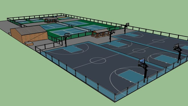 A digital rendering of what the basketball, tennis and pickleball courts at Citizen Park will look like after the renovation project is completed.
