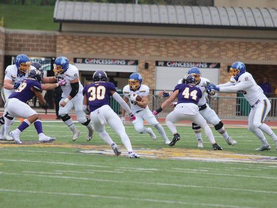 South Dakota State running back Brady Mengarelli carries