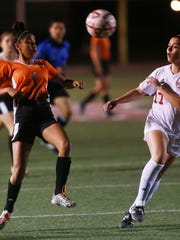 El Paso High's Jackie Balderrama, left, is one the team's leading scorers with 19 goals.