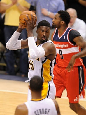 Indiana Pacers center Roy Hibbert with the game sealing rebound against the Washington Wizards  in Game 2 of the Eastern Conference Semifinals .