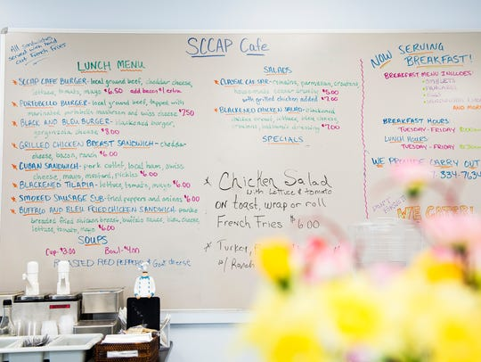 The menu at the SCCAP Cafe, a Gettysburg restaurant