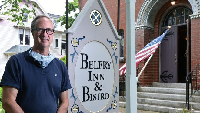 Chris Wilson, outside the renovated church that houses his fine dining restaurant and three-star Belfry Inn & Bistro, one of three restaurants he owns on Jarves Street in Sandwich Village.