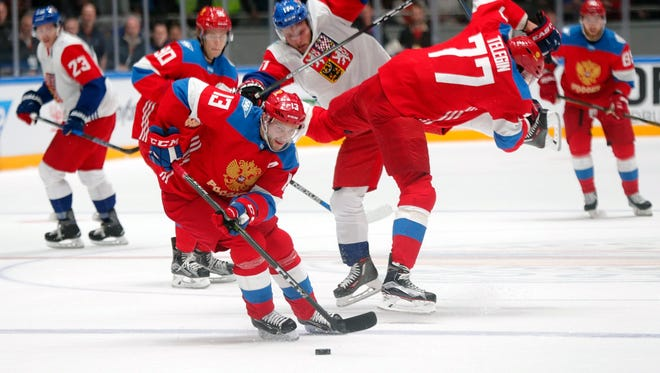 Pavel Datsyuk, front, of Russia skated against the Czech Republic in St. Petersburg, Russia, on Sept. 8 2016.