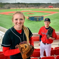 College of St. Benedict first-year student Karlee Pfaff plays catcher for the Blazer softball team while her brother, Aaron, a senior at St. John's University, plays outfield for the Johnnies.