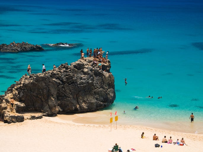 The first thing that comes to mind when you think Hawaii -- the 50th state to join the Union -- is likely its beaches, like beautiful Waimea Beach on Oahu's North Shore.